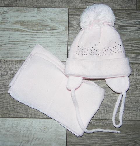 Dívčí zimní čepice se šálkou - světle růžová