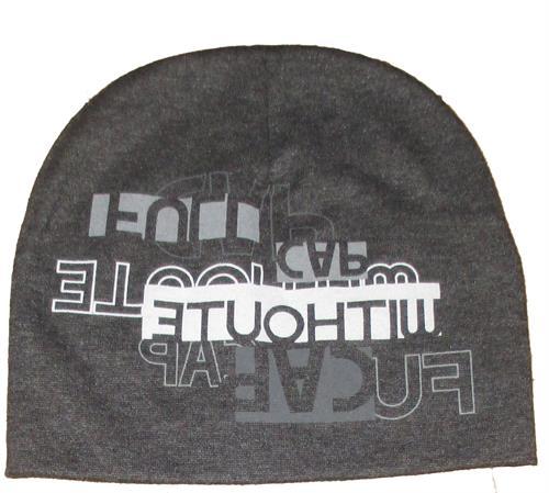 Chlapecká čepice nápis - tmavě šedá