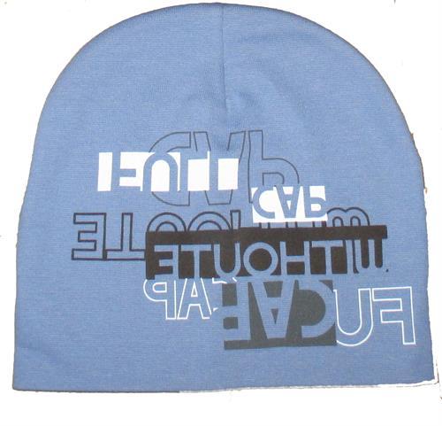 Chlapecká čepice nápis - modrá