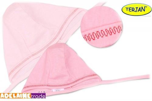 Bavlněná kojenecká čepička - růžová