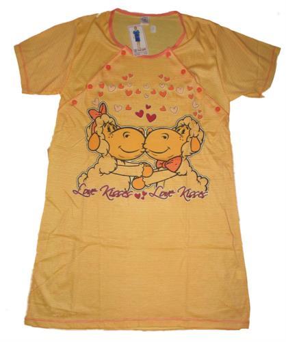 Kojící noční košile propínací ovečky - žluto-oranžová