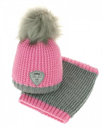 Dívčí zimní čepice s komínkem - růžová