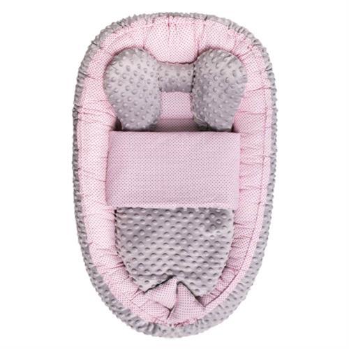 Hnízdečko pro miminko s peřinkou - růžovo-šedé