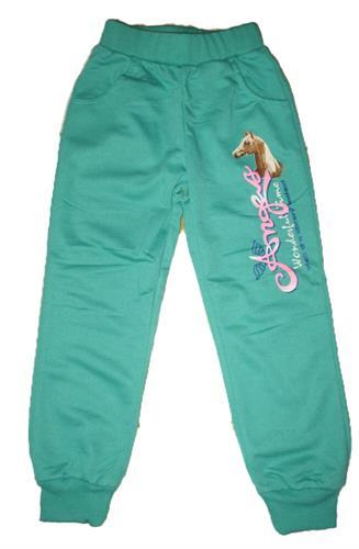 Dívčí teplákové kalhoty s náplety - zelené