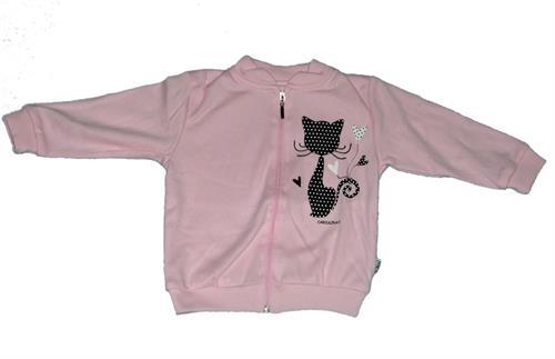 Kojenecká mikina kočička - růžová