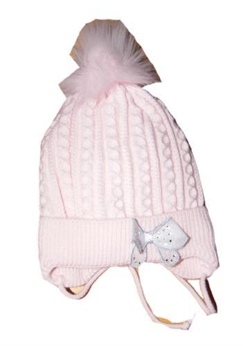 Dívčí pletená čepice bambule - růžová