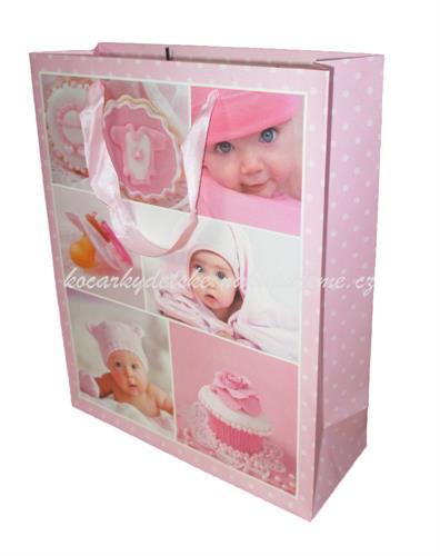 Dárková taška velká - růžová miminko