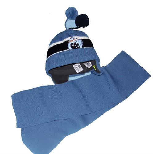 Chlapecká zimní čepička se šálou - modrá