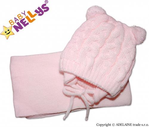 Pletená zimní čepice se šálou - růžová