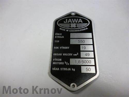 Štítek typový -leptaný Jawa 550