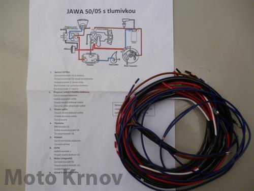 elektroinstalace  JAWA 50/05 s tlumivkou