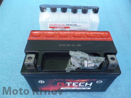 baterie 12V, YTX7A-BS, 6Ah, 90A, bezúdržbová MF AGM 150x87x94, A-TECH