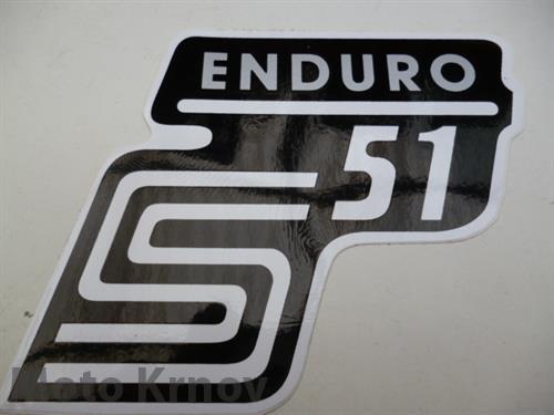 nálepka schránky S51 ENDURO - č/b/stříbrná ( Simson )