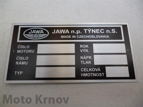 štítek typový ( Jawa 634 )