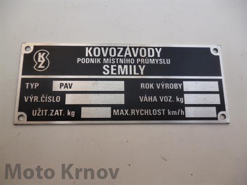štítek typový ( PAV ) leptaný