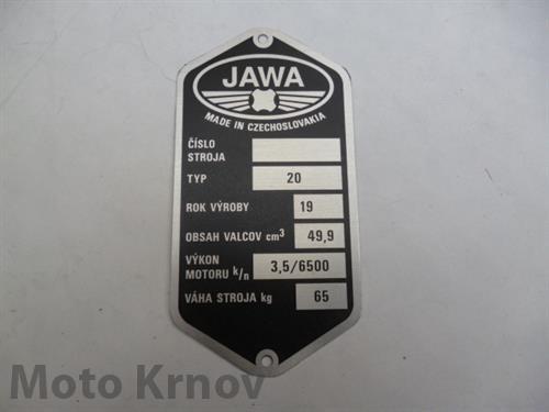 Štítek typový -leptaný Jawa 20