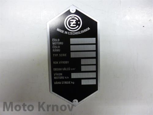 štítek typový ( ČZ )