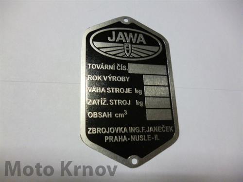 Štítek typový - Jawa Pérák FJ (leptaný,předtištěný)